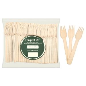 100 x Forks Wooden Beechwood 15.5cm - Disposable Cutlery